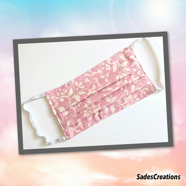 Two Layer Face Covering with Nose Wire in Pink with white leaves. 100% Cotton