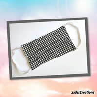 Two Layer Face Covering with Nose Wire in Black & White Check. 100% Cotton