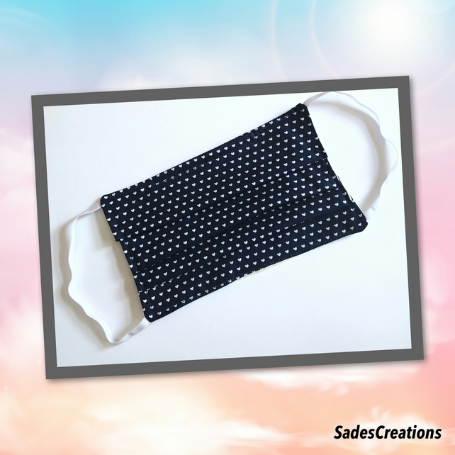 Two Layer Face Covering with Nose Wire in Navy Hearts. 100% Cotton