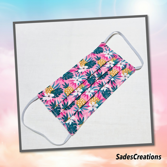 Two Layer Face Covering with Nose Wire in Tropical pineapple. 100% Cotton