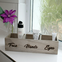 Wooden make up organiser with 3 words of your choosing