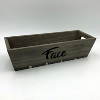 "Wooden skincare organiser with ""Face"" engraved using pyrography"