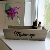 "Wooden make up organiser engraved with ""Make-Up""  (or other two words)"