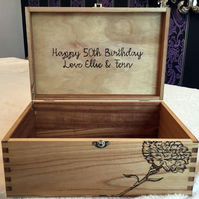 Wooden Memory Box - Christening Box - Personalised with message inside lid