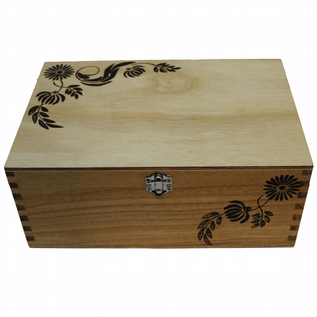 Wooden Keepsake Box Engraved By Hand With Flowers With Pyrography Technique