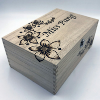 Wooden keepsake box or memory box engraved with two names and flowers