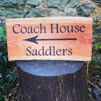 Wooden sign for house or garden - personalised by woodburning (THREE words)