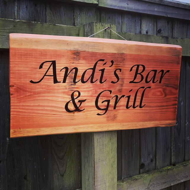 Personalised wooden hand made sign for house or garden (FOUR words)