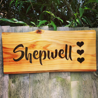 Rustic personalised wooden sign - engraved using pyrography (ONE word)