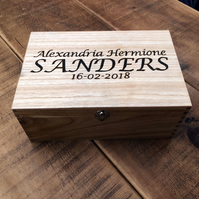 Wooden keepsake box or memory box personalised with pyrography text
