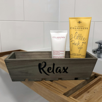 "Wooden bath caddy, decorated with pyrography, with ""Relax"" burned in to the wood"