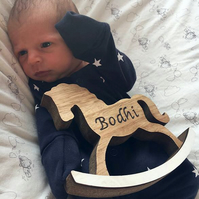 Personalised miniature wooden rocking horse with baby name engraved