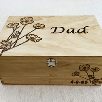 Personalised wooden memory box for Dad - your choice of words and image engraved