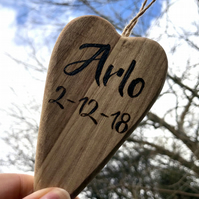 Personalised wooden heart with baby name engraved by pyrography