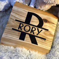 Custom made personalised wooden baby monogram name sign engraved with pyrography