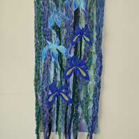Machine embroidered and appliqué wallhanging of irises