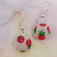 Strawberry design fabric cobochon style earrings