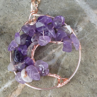 Amethyst Tree of Life Pendant Necklace ToL191