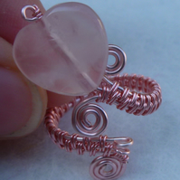 Rose Quartz Heart Ring - Wire Wrapped Adjustable Rose Gold Coloured Copper R179