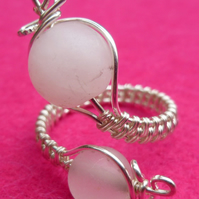 Rose Quartz Adjustable Wire Wrapped Silver Plated Copper Ring R175