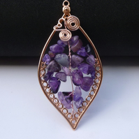 Amethyst Leaf Design Pendant Necklace Leaf 01