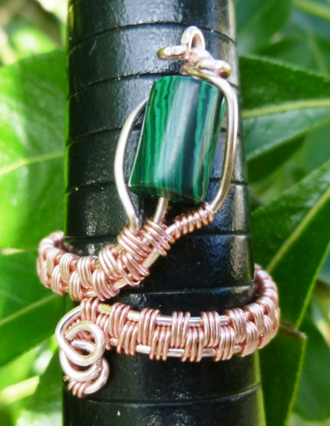 Malachite Adjustable Wire Wrapped Rose Gold Coloured Copper Ring R228