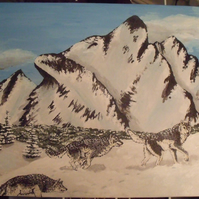 Mountain Song - original acrylic wolf mountain painting