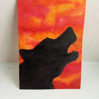 ACEO Original Art - Howling Sunset - Ink Wolf Trading Card