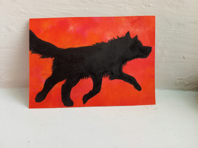 ACEO Original Art - Running Wolf Sunset - Ink Wolf Trading Card