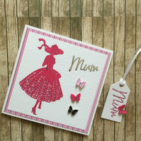 Handmade card ideal as a special  birthday card, Mother's Day or thank you card