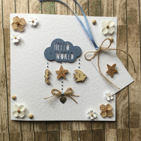 New Baby boy keepsake card and gift tag,  mobile card, Wood card