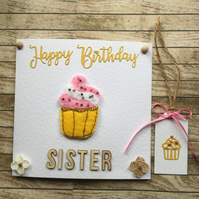 Cupcake  Birthday card and gift tag for Sister