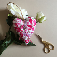 Fabric hanging heart, door hanger, home decor.