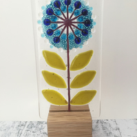 Fused Glass Flower on Oak 3