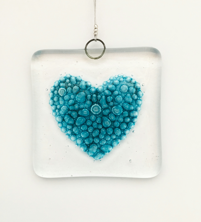 Fused Glass Bubbly Heart Hanging