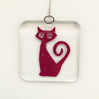 Fused Glass Copper Cat Hanging