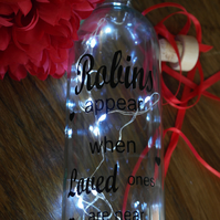 "Bottle Light ""Robins Appear When Loved Ones Are Near"" bottle lamp, personalised"