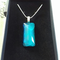 Turquoise Teal Blue Pendant Necklace on Silver Plated Chain