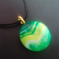 Unique Green and Yellow Round Pendant Necklace on a Black Waxed Cord