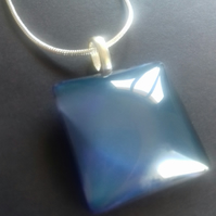 Lovely Blue Grey Square Pendant Necklace