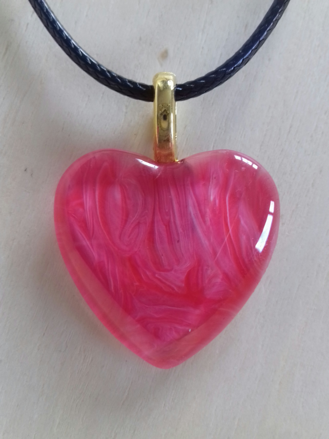 Red Pink Heart Pendant Necklace on Black Waxed Cord
