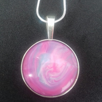 Lovely Unique Soft Pink and Purple Pendant Necklace Silver Plated Chain