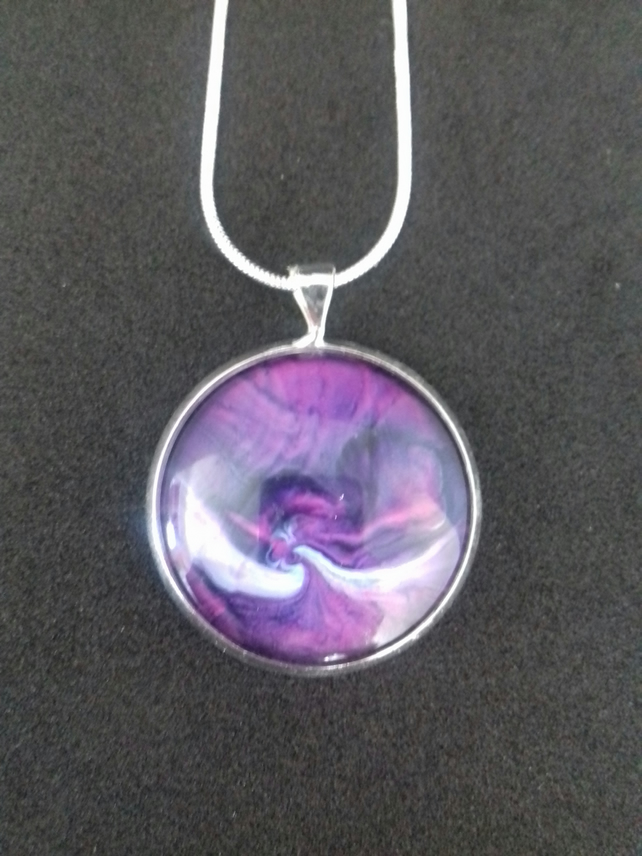 Unique Purple and Cerise Pendant Necklace