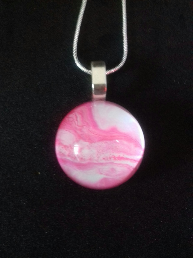 Pink and White Domed Pendant Necklace, Round on Silver Plated Chain