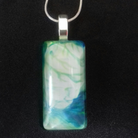 A Unique Pale Green and Teal Pendant Necklace, Rectangular