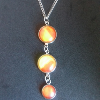 3 Pendant Drop Necklace, Orange and Yellow