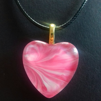 Pink Heart Pendant Necklace, Handmade and Unique