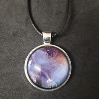 Lovely Unique Purple Round Pendant Necklace