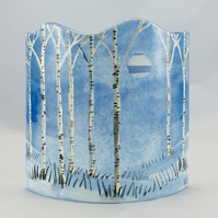Fused glass curved free-standing hand-painted winter silver birches