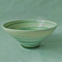 AGATE WARE BOWL, WHITE, GREEN AND BLUE EARTHENWARE DIAMETER 16 CMS